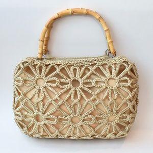 Woven Flower Bamboo Handle Natural Handbag